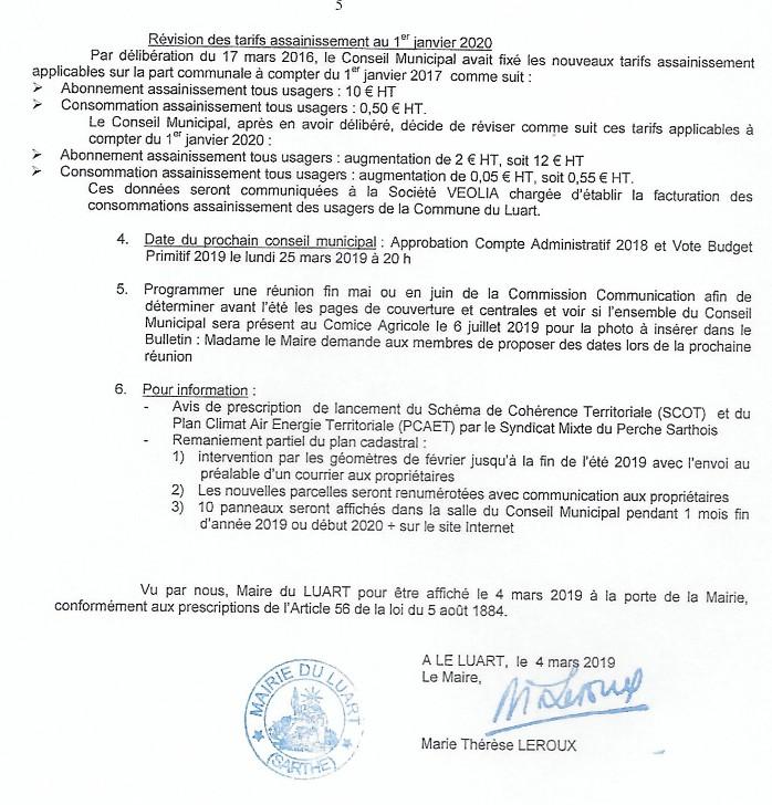 Calendrier Comice Agricole Sarthe 2019.Deliberations Du Conseil Municipal Mairie Le Luart